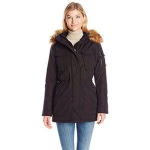 S13 Field Parka Coat with Faux Fur Trim Hood Black